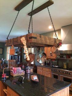 Custom Crafted Pot Rack with Forged Steel Hardware Wall Storage Cabinets, Kitchen Wall Storage, Wall Hanging Storage, Pot Rack Hanging, Hanging Pots, Pot Hanger Kitchen, Kitchen Island Pot Rack, Rustic Kitchen, Diy Kitchen