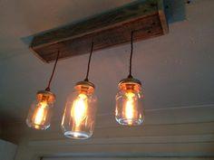 Our mason jar kitchen light. Lounge chandelier on its way!