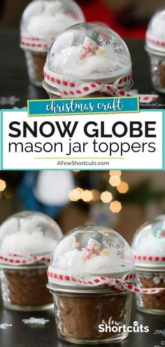 Need a cute homemade Christmas gift idea? Check out these crazy simple Snow Globe Mason Jar Toppers! A super easy DIY idea Need a cute homemade Christmas gift idea? Check out these crazy simple Snow Globe Mason Jar Toppers! A super easy DIY idea Snow Globe Mason Jar, Diy Snow Globe, Navidad Diy, How To Make Snow, Mason Jar Diy, Jar Crafts, Homemade Gifts, Easy Homemade Christmas Gifts, Craft Gifts