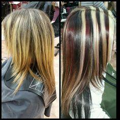 WEBSTA @ hair_by_joy_ - #chunkyhighlights #blonde #black #purplered #hairbyjoy #haircolor #colortrendshairsalon @colortrendshairsalon @nashuanh