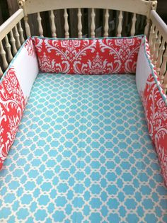 Custom Aqua and Coral Crib Bedding.