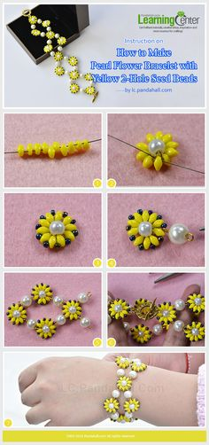 Instruction on How to Make Pearl Flower Bracelet with Yellow 2-Hole Seed Beads from Pandahall.com