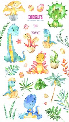 by StarJam on Creative Market Dinosaurs. by StarJam on Creative Market Rezheen Fars abubekrfarsreez liana Dinosaurs. Illustration Agency, Hand Illustration, Botanical Illustration, Watercolor Illustration, Watercolor Art, Dinosaur Nursery, Dinosaur Art, Cute Dinosaur, Illustrator