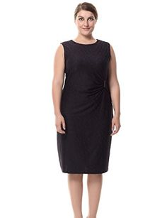 Chicwe Womens Plus Size Sleeveless Dress with Waist Mock Tie 16 Black *** Check this awesome product by going to the link at the image.