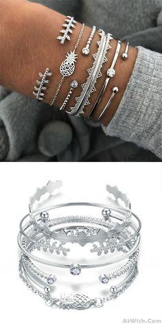 Cheap Unique Alloy Pineapple Leaves Bracelet Set 6 Piece Set Creative Open Bracelet For Big Sale! Cute Bracelets, Fashion Bracelets, Cute Headphones, Bracelet Sizes, Cute Jewelry, Indian Jewelry, Crystal Rhinestone, Creative, Pineapple