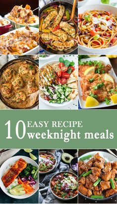 10 EASY WEEKNIGHT MEALS for simple family dinners any day of the week! These easy recipes are sure to be your favorite recipes when feeding your family! via /beckygallhardin/ Easy Family Dinners, Fast Dinners, Easy Weeknight Dinners, Quick Meals, Weeknight Recipes, Easy Weekday Meals, Healthy Dinners, Bowls, Easy Chicken Dinner Recipes