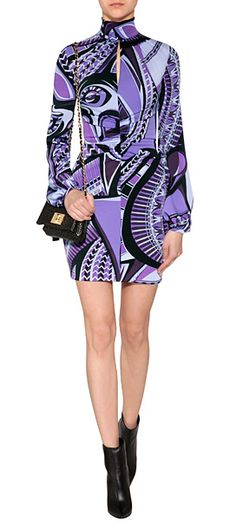 Wide long sleeves and a high neckline lend a chic retro look to this characteristic print dress from Emilio Pucci #Stylebop