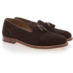 Grenson Katie Chocolate Suede Tassel Loafer (€140) ❤ liked on Polyvore featuring shoes, loafers, brown, slip-on loafers, slip on loafer, suede shoes, wingtip loafers and brown slip on shoes