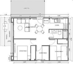 Planos Casas de Madera Prefabricadas: Plano casa madera 59 m2