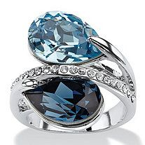 SETA JEWELRY Sky and London Blue Pear-Cut Crystal Silvertone Bypass Cocktail Ring MADE WITH SWAROVSKI ELEMENTS