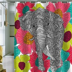 cutest Groveland shower curtain. Valentina Ramos