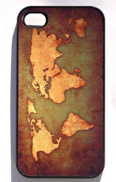 FREE SHIPPING Vintage World Map- - iphone 4 case, iphone case, iphone 4s case, iphone 4s, iphone 4 cover, iphone hard case, iphone 4,. $19.95, via Etsy.