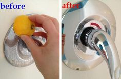 Naturally Clean Hard Water Stains Using A Sliced Lemon    Simply slice a lemon in half and rub it on any hard water stains and rinse clean.  Or red vine vinegar