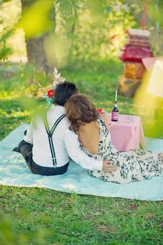 picnic setting couple
