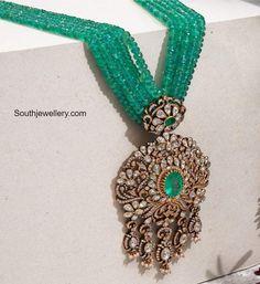 Multi strand emerald beads haram with polki pendant photo