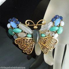 Oscar de La Renta Vintage Butterfly Blue Green Glass Opal Cabs Brooch Pin