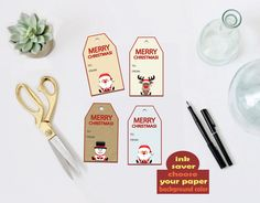 INK SAVER PRINTABLE! Christmas gift cards or tags,  printable Christmas gift labels by PreciousPrintDesigns on Etsy