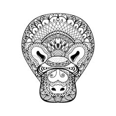 Zentangle Platypus head totem for adult anti stress Coloring Pag — Ilustración…