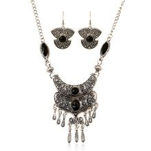 Carving Long Tassel Vintage Necklaces 2016 Trendy Ethnic Pattern Jewelry Statement Women Silver Plated Maxi Pendant Necklace Set(China (Mainland))