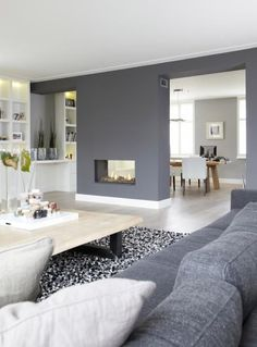 Love this gorgeous open plan living/kitchen room area! Grey is our favourite colour for interior design and it just creates such a warming atmosphere! Home Living Room, Living Room Decor, Living Spaces, Living Room And Kitchen Together, Feature Wall Living Room, Open Plan Kitchen Living Room, Open Plan Living, Living Area, Dining Room