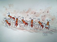 Ant, Watercolor, Painting Art
