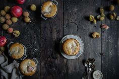 white nectarine & lychee cobbler   two red bowls