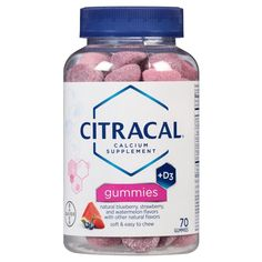 Citracal Calcium + D3 Calcium Supplement Soft and Easy to Chew Strawberry Blueberry And Watermelon Gummies - 70ct