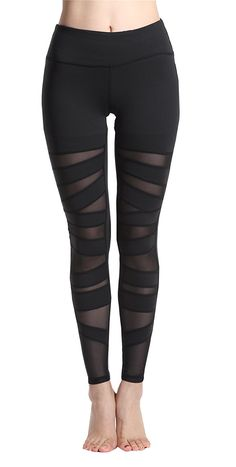 Amazon.com: Lotsyle Women's Mesh Panels Stretchy Yoga Pants Gym Leggings Fitness Active Pants: Clothing
