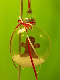 Gingerbread Man Glitter Clear Christmas Ornament
