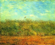 Vincent van Gogh,Edge of a Wheatfield with Poppies and a Lark, 1887. A country scene painted while he was living in Paris means he was able to get pretty far out of town. He conveys the shear joy of painting