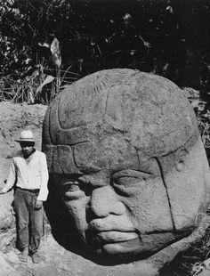 Afro-Olmec head of basalt wearing Nubian type war helmet, ca. 1100 BC
