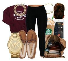 """Freshman"" by honey-cocaine1972 ❤ liked on Polyvore featuring Melissa Odabash, UGG Australia, Michael Kors and Topshop"