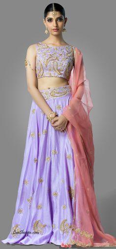 Lavender & Blush Crop Top Lehenga, Shilpa Reddy - Lux Shoppe – LuxShoppe.com