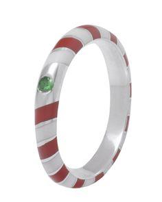 Candy Stripe ring in Fairtrade silver & tsavorite garnet
