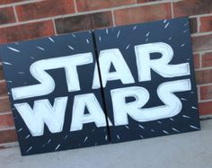 [ a little star wars logo love. ] Original painting done in acrylics on canvas. canvases set upright, side by side, for a total of Star Wars Room, Star Wars Decor, Star Wars Painting, Diy Painting, Star Citizen, Blue Canvas, Canvas Art, Star Wars Baby, Star Wars Gifts