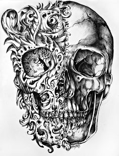Something like this with crossed pen and paintbrush (like cross bones) - black and white on one side and colorful swirls on the other