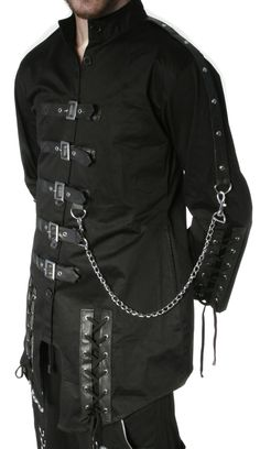 New Dead Threads Black Cyber Punk Gothic Jacket, which has seven black buttons running up the front, up to a high neck collar. Description from bonniesdelight.com. I searched for this on bing.com/images