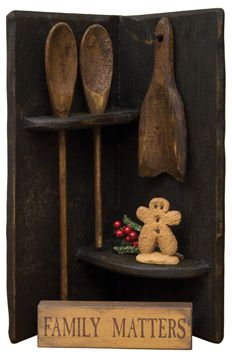 Aged Corner Spoon Rack...with mini shelf sitter sign & cute ginger.  KP.