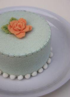 Felt Cake Spring Green Mint And Apricot. $32.00, via Etsy.