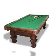 This is a lot like the pool table we had in our basement - It was my grandpa's from a pool hall in Livonia. It had a slate top, the mother of pearl diamonds, the balls were ivory - the pockets were cut-out leather. I learned a lot about spacial relations & geometry playing with my dad, long before I studied them!