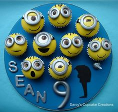 minion cupcakes from despicable me and Gru. Should really have made the minions so that the edge of the cupcake case is not seen as they look like bumble bees to me…… will remember that for next time as was pushed for time and couldn't redo them. Minion Cupcakes, Despicable Me Cupcakes, Bolo Minion, Cupcake Cookies, Cake Minion, Lego Cake, Minion Party, Birthday Cupcakes, Cake Pops