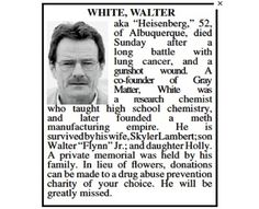 Walter White Obituary Gets Published in the Albuquerque Journal