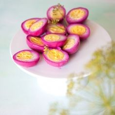 I saw these at Wise Acre Eatery- gorgeous! Beet Pickled Eggs