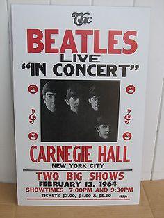 Vintage Beatles Concert Poster 1964, New York City Carnegie Hall