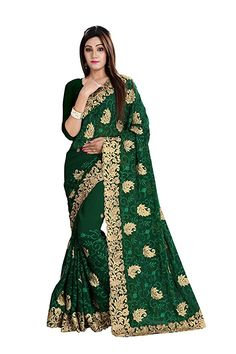 80b895916e2965 Exclusive Green Georgette Saree With Georgette Blouse -