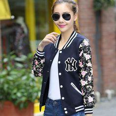 Nuove giacche donna inverno caldo della signora di modo cappotti giacca manica lunga stampa fiore plus size baseball giacche cardigan BN879