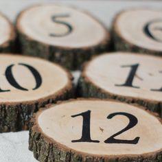 20 Wedding Table Numbers, Wedding reception decor, Custom Wedding, Log Slice Table Numbers, Rustic Wedding Table, Rustic Wood Slice Number