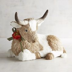 Pier 1 Imports Hank The Longhorn Cow Natural Decor ($30) ❤ liked on Polyvore featuring home, home decor, pier 1 imports and cow home decor