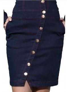 59069 - Vestido Jeans Poá E Pesponto - Hapuk Fashion Hub, Denim Fashion, Fashion Outfits, Jeans Dress, Denim Skirt, Skirt Outfits, Cute Outfits, Modelos Fashion, Button Up Skirts