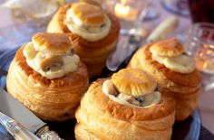 A great vol-au-vent selection makes perfect party food, especially if they've got lots of delicious fillings, like prawn, chicken, mushroom or ham Yummy Snacks, Delicious Desserts, Baking Recipes, Snack Recipes, Uk Recipes, Easy Canapes, Making Peanut Butter, Bite Size Appetizers, Vol Au Vent